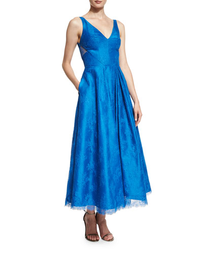 Sleeveless V-Neck Floral Lace Midi Dress