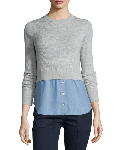Cati Wool Shirttail Combo Sweater, Gray/Blue