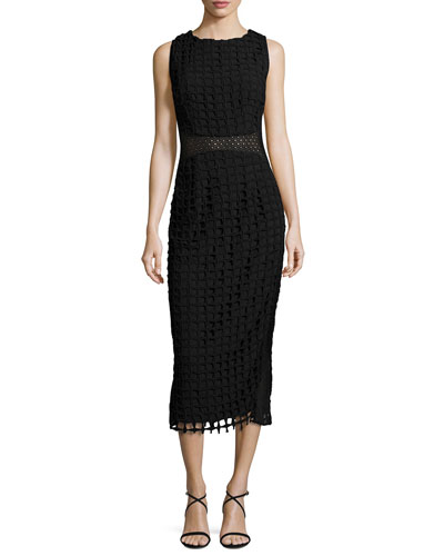 Sleeveless Check Lace Midi Dress, Black