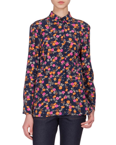 Button-Front Jewel-Print Blouse, Navy/Multi