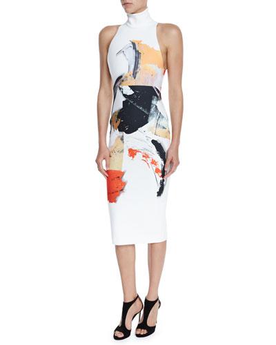 Dakota Sleeveless Printed Midi Dress, Cream/Multicolor