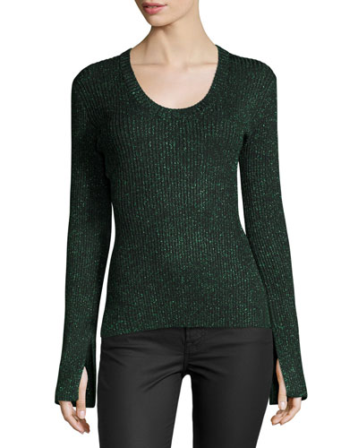Vistas Metallic Ribbed Sweater, Green