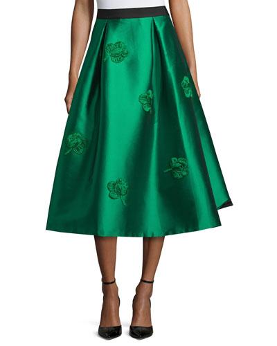 Embroidered Midi Ball Skirt, Emerald