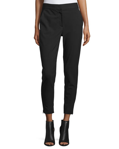 Cropped Tailored Relaxed Pants, Black