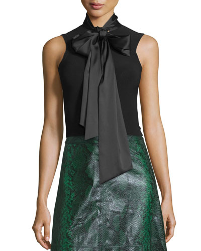 Glynda Tie-Neck Fitted Sleeveless Top