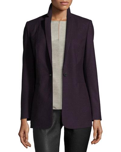 Bonnie One-Button Stretch-Wool Blazer