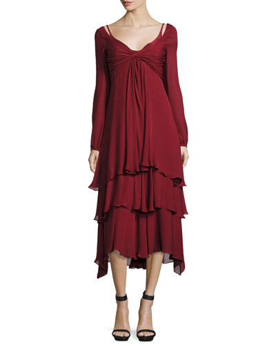 Fira Tiered Silk Dress, Pomegranate