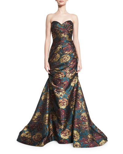 Strapless Floral Jacquard Mermaid Gown, Multicolor