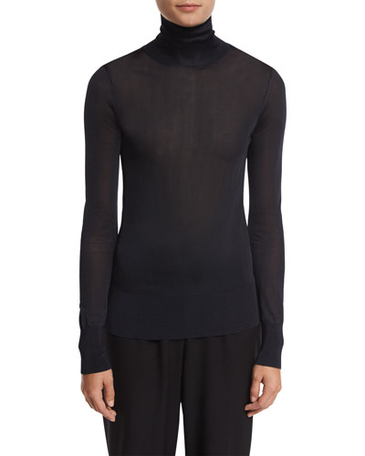 Long-Sleeve Jersey Turtleneck Top, Navy