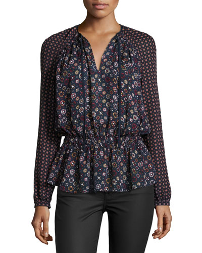 Long-Sleeve Floral Silk Blouse
