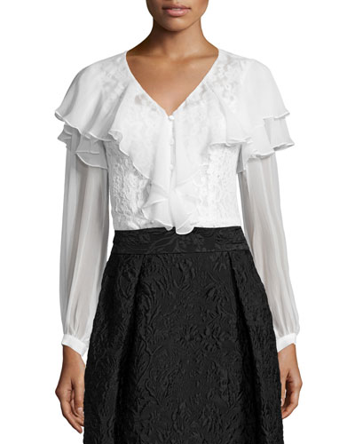 Long-Sleeve Ruffle & Lace Top, White