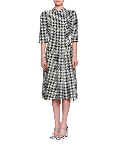 Half-Sleeve Houndstooth Polka-Dot Dress