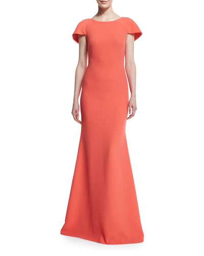 Short-Sleeve Structured Cape Gown