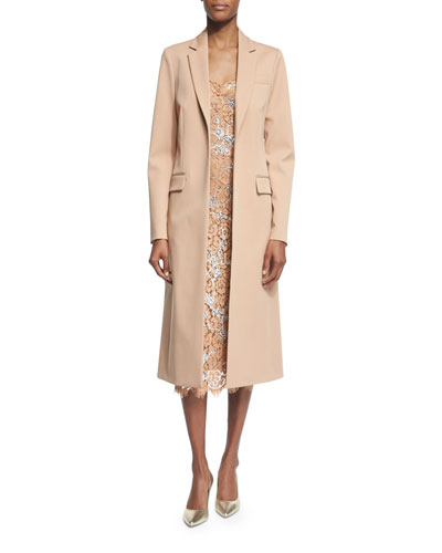 Long Open-Front Wool Coat, Suntan