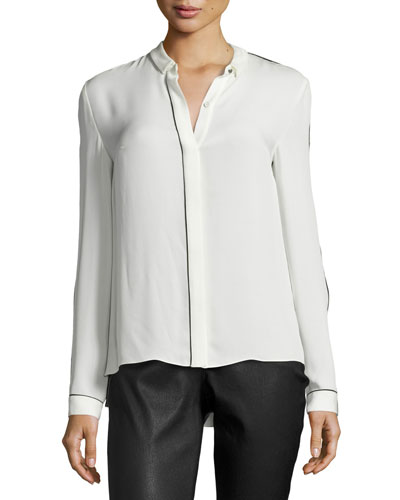 Yvette Long-Sleeve Contrast-Piped Silk Blouse