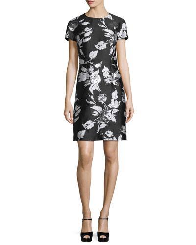 Short-Sleeve Metallic Floral Jacquard Dress, Black