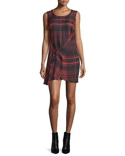 Sleeveless Tied Tartan Plaid Mini Dress, Red
