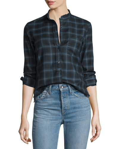 Shrunken Plaid Pullover Shirt