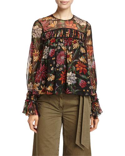 Monarch Wildflower-Print Long-Sleeve Silk Top, Multicolor