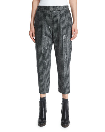 Paillette Chevron Cropped Pants, Onyx