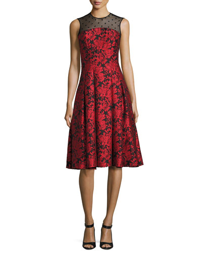Sleeveless Floral Jacquard Fit-and-Flare Dress, Red