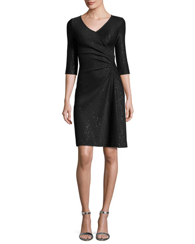 Sequined Knit V-Neck 3/4-Sleeve Dress, Black