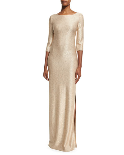 Sequined Knit 3/4-Sleeve Gown, Gold