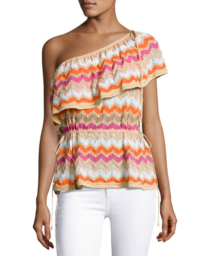 One-Shoulder Zigzag Stretch-Knit Top