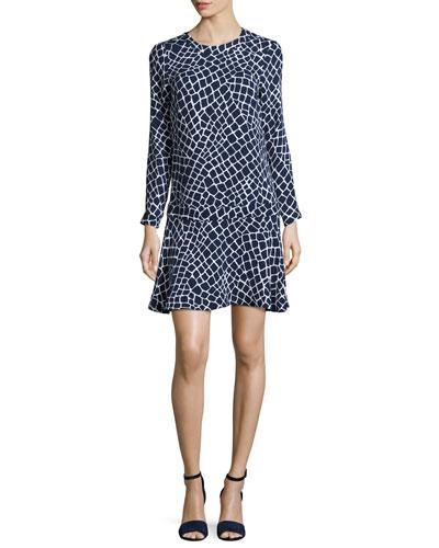 Nyla Long-Sleeve Croc-Print Flounce Dress, Navy