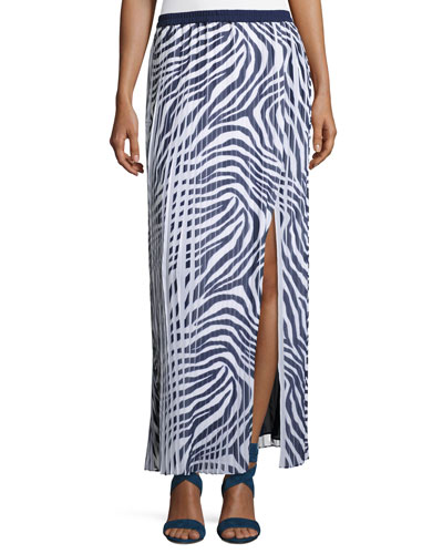 Animal-Print Pleated Maxi Skirt w/ Slit, Navy