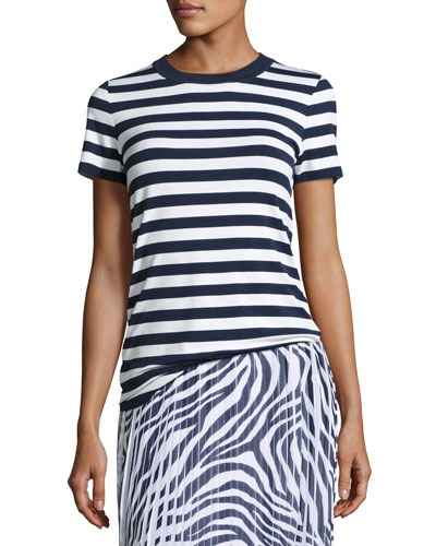 Striped Tee w/ Sweater-Trim Crew Neckline,