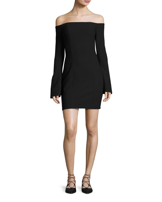 Niara Off-the-Shoulder Ponte Cocktail Dress, Black