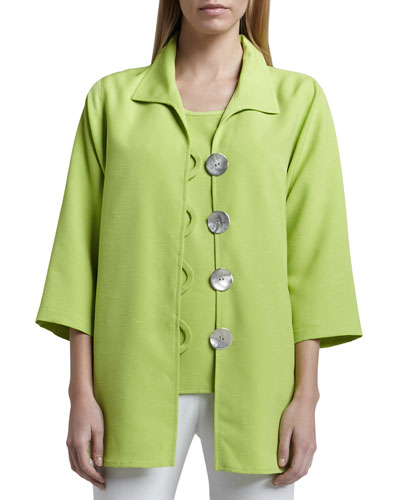Shantung Big-Button Shirt, Plus Size