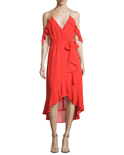 V-Neck Georgette Ruffled Wrap Dress, Red