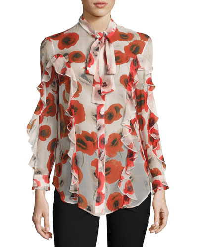 Floral Georgette Ruffle Shirt, Red/Off White