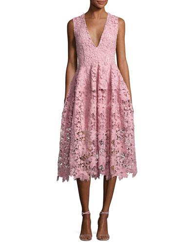 Bellflower Guipure Lace Sleeveless V-Neck Ball Dress, Pink