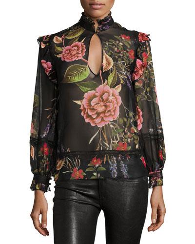 Peony Floral Embroidered Chiffon Ruffle Shirt, Black Multipattern