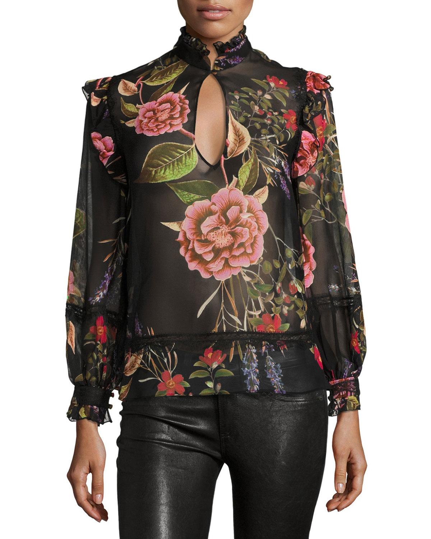 Peony Floral-Print Chiffon Ruffle Shirt, Black Multipattern