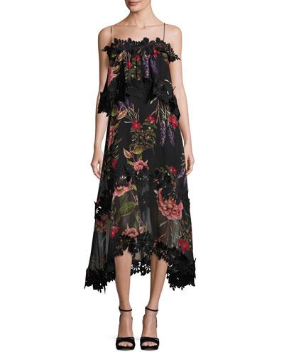 Peony Floral Overlay Silk Midi Dress, Black Multicolor