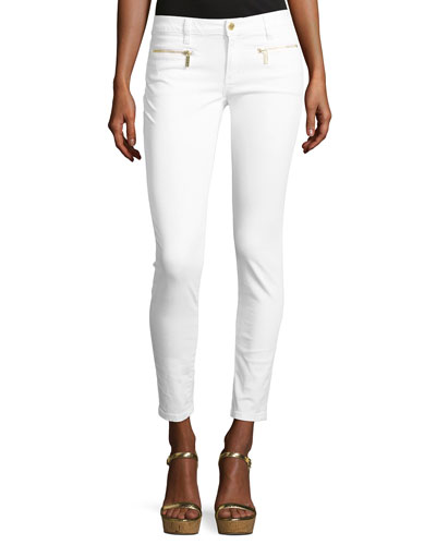 Izzy Skinny Zip-Pocket Ankle Jeans, White