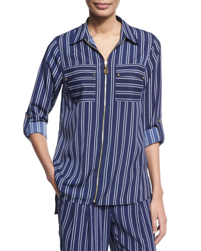 Bengal-Striped Zip-Front Top, Navy