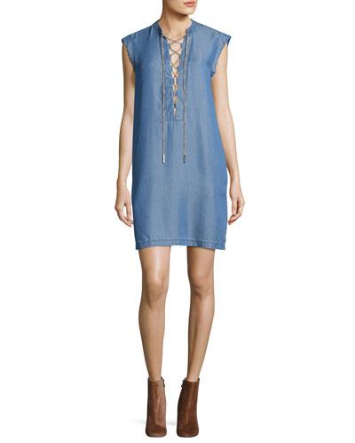 Short-Sleeve Lace-Up Chambray Shift Dress, Blue