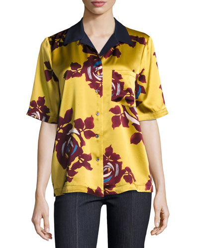 Dani Floral-Print Silk Shirt, Chartreuse/Multicolor