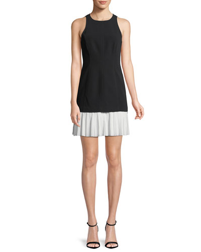 Catriona Sleeveless Pleated-Skirt Dress, Black