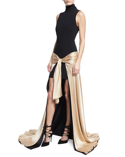Thea Turtleneck Tie-Waist High-Low Gown, Black/Nude