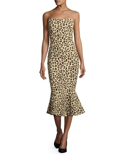 Luna Leopard-Print Strapless Mermaid Dress, Black/Tan