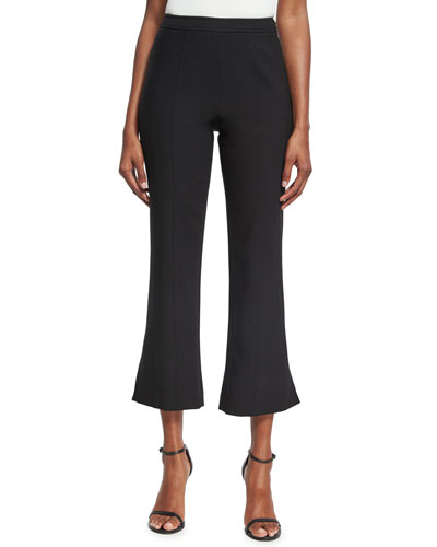 Tinsley Cropped Flare-Leg Pants, Black