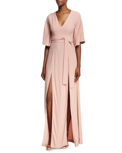 India V-Neck Slit Front Maxi Dress