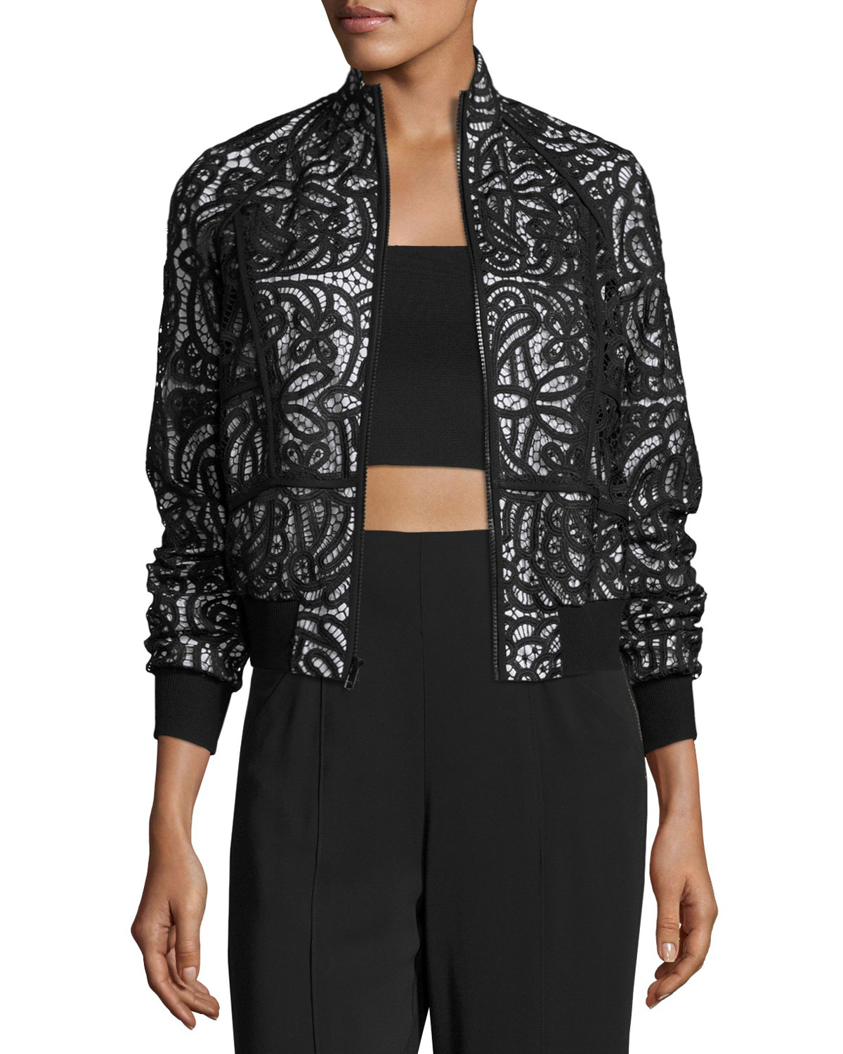 Boxy Paneled Lace Jacket, Black