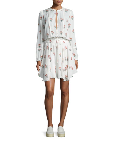 Dasha Long-Sleeve Printed Silk Dress